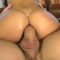 Young brunette with curly hair takes a severe pounding