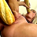 Horny blonde bitch stimulated with dildos and bread