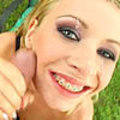 Very cute blonde with braces gets assfucked and eats cum