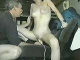 Wife rides a dildo and warms his cock