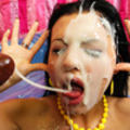 Dumn cock hungry slut gets totally cum covered
