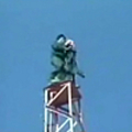 The guy fall from the really high tower ... that's freaky